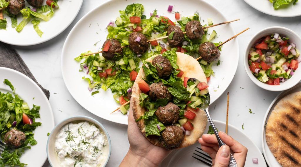 Mediterranean Ground Beef and Salad Pita