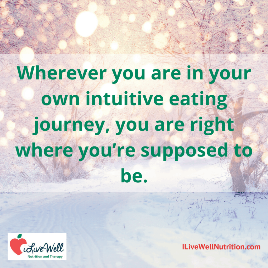 during the holiday season and in your intuitive eating journey, you're right where you need to be